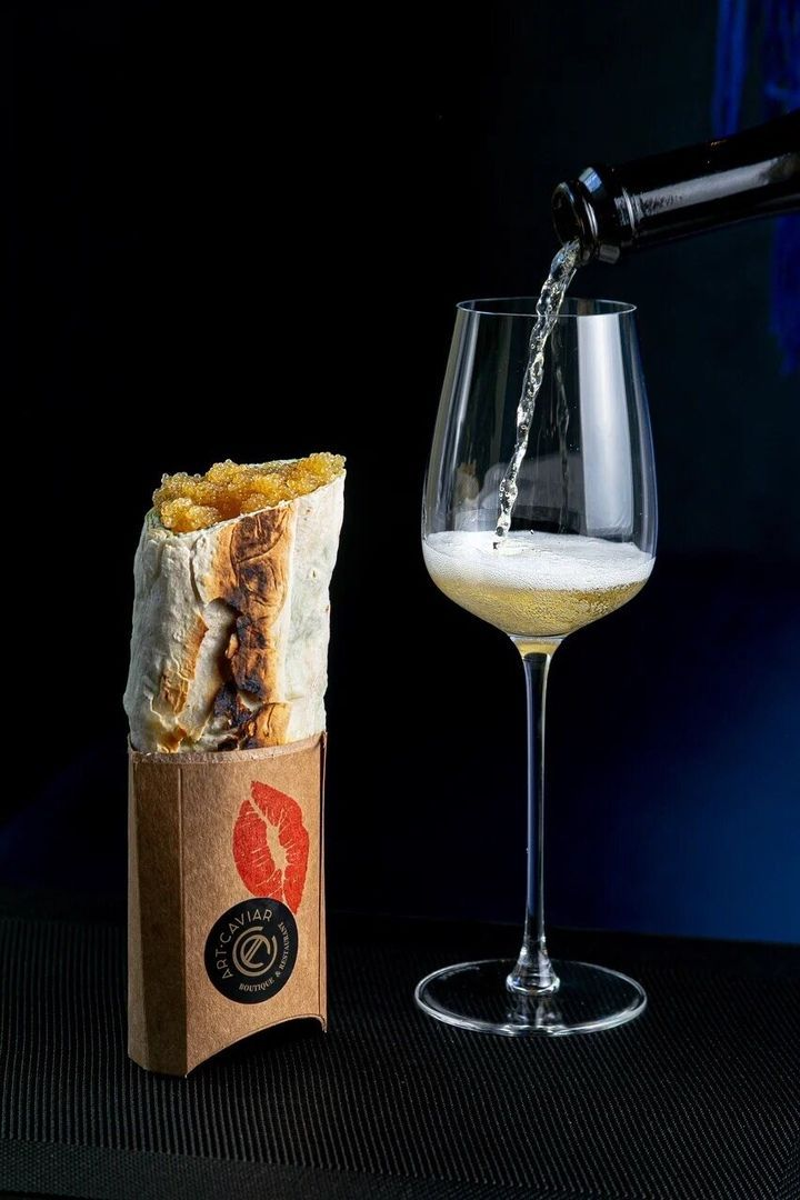 Sturgeon shawarma with gold and golden albino sterlet caviar